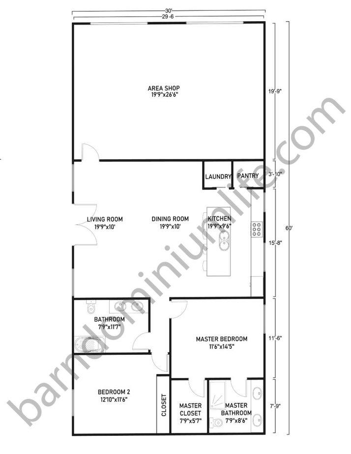 30x60 Barndominium with Shop Floor Plans Classic Design for Small Families