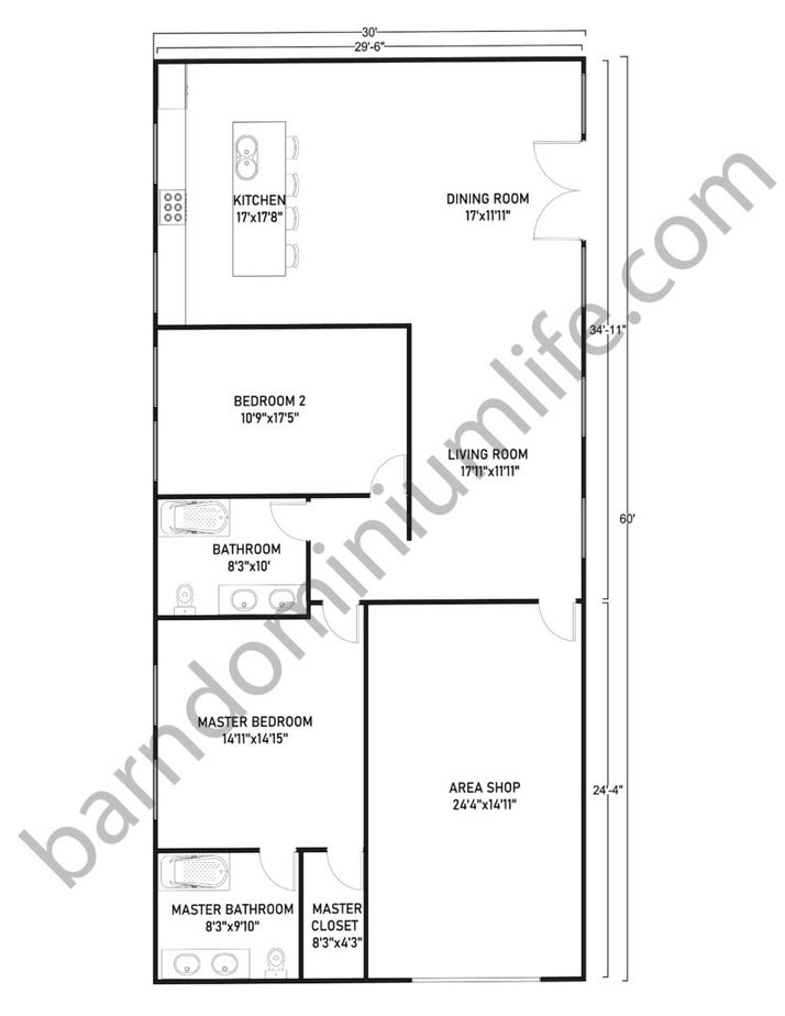 30x60 Barndominium with Shop Floor Plans Classic Horizontal Design