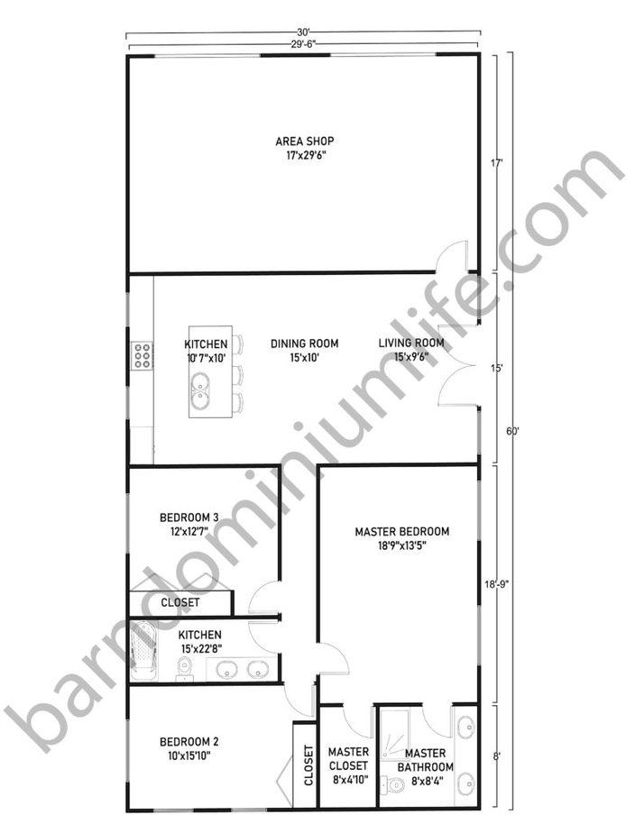 30x60 Barndominium with Shop Floor Plans for Medium Size Families