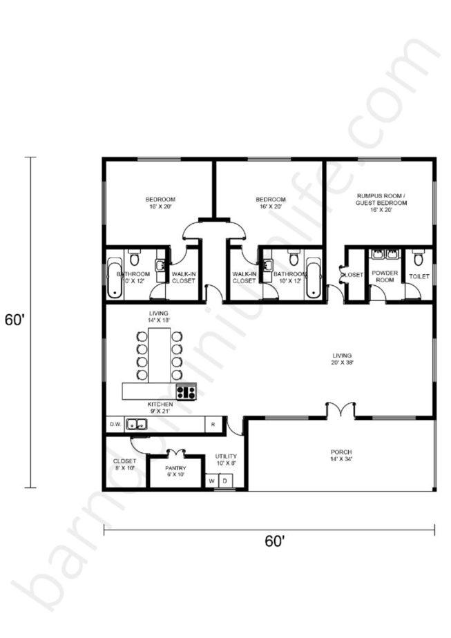 60x60 Barndominium Floor Plans Open Concept with Porch and Rumpus Room