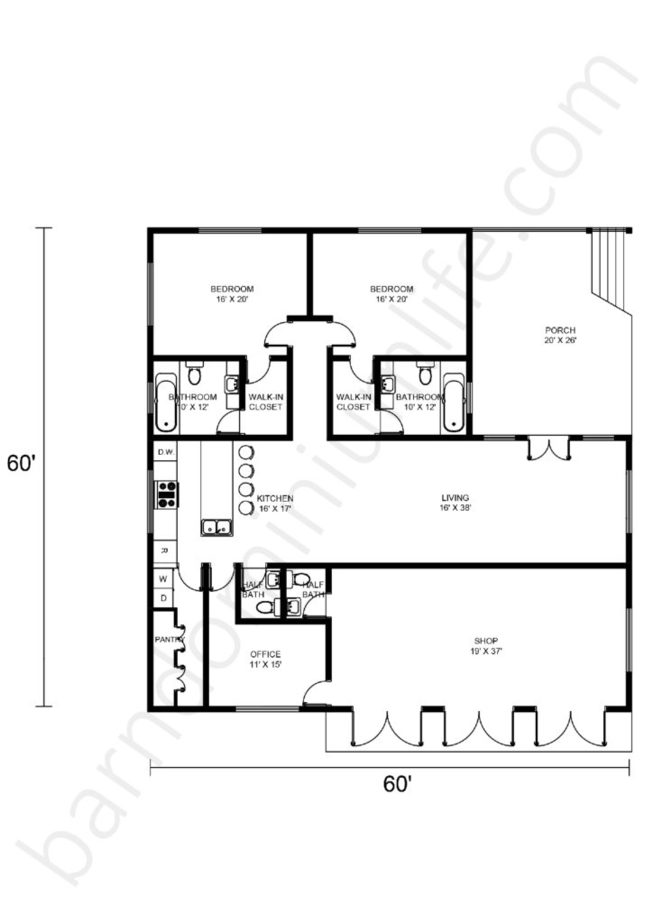 60x60 Barndominium Floor Plans Open Concept with Porch, Office and Shop