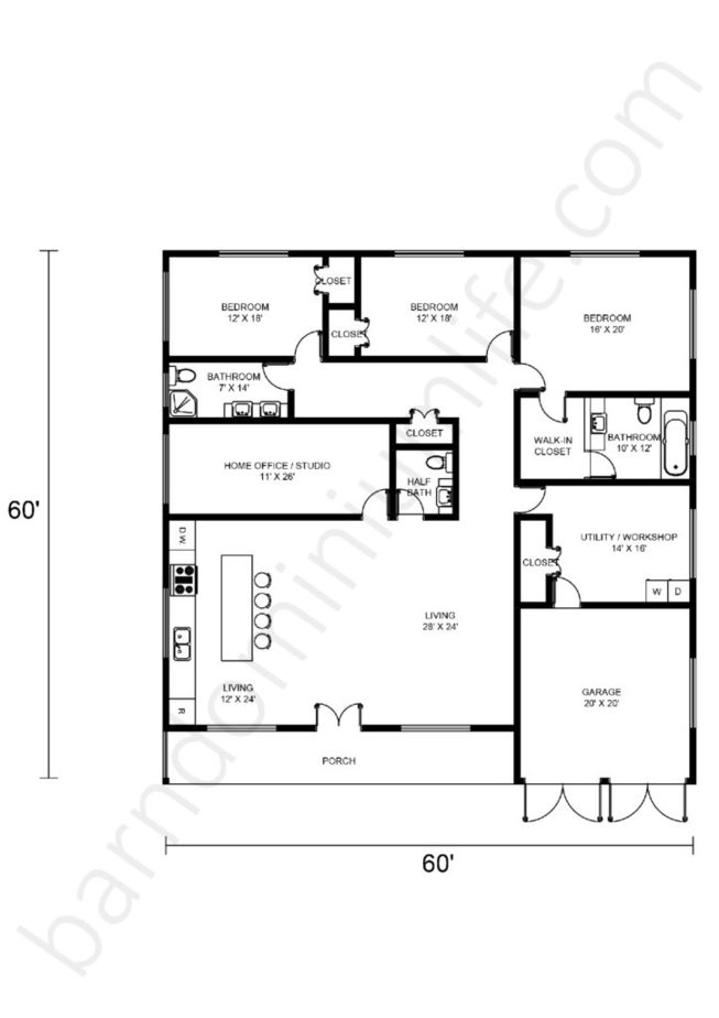 60x60 Barndominium Floor Plans Open Concept with Porch, Garage, Home Office/Studio and Workshop