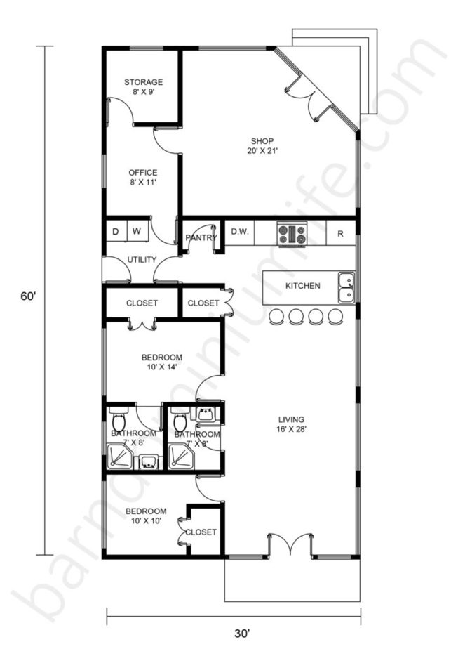 30x60 Barndominium with Shop Floor Plans Open Concept, Porch and Home Office
