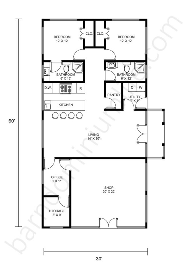 30x60 Barndominium with Shop Floor Plans Open Concept, Office and Porch