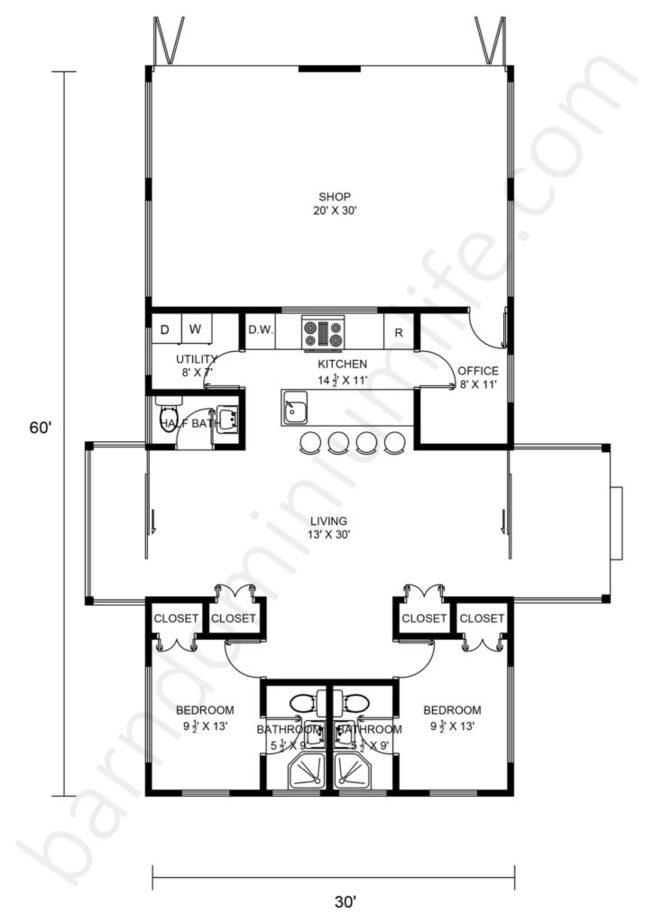 30x60 Barndominium with Shop Floor Plans Open Concept, Office, 2 Porches