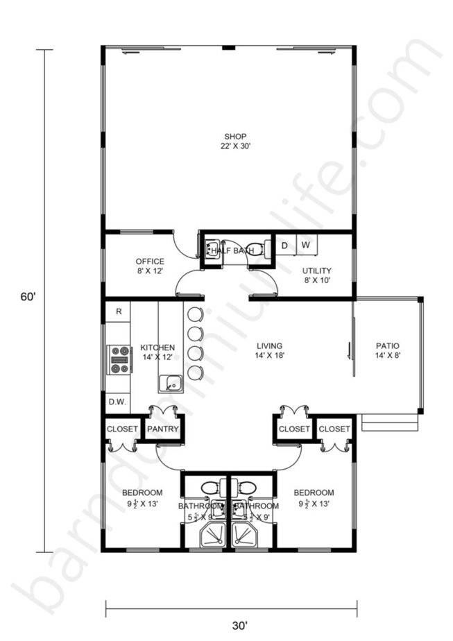30x60 Barndominium with Shop Floor Plans Open Concept, Patio and Office