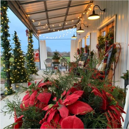 Charlotte NC Barndominium Christmas Front Porch