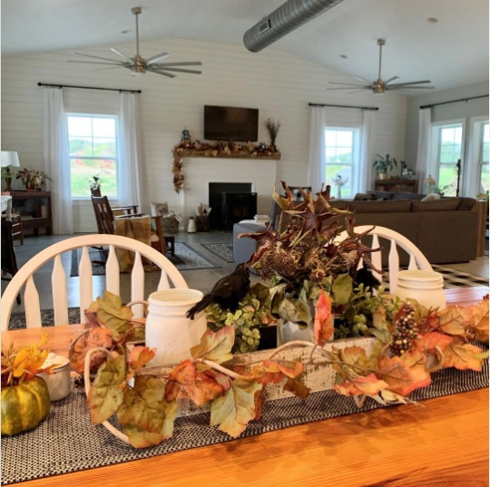 Charlotte NC Barndominium Dining Area Autumn Décor