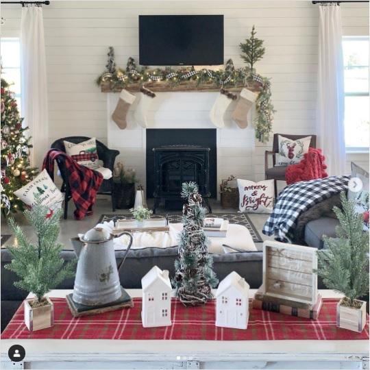 Charlotte NC Barndominium Christmas Living Room