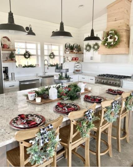 Charlotte NC Barndominium Christmas Kitchen