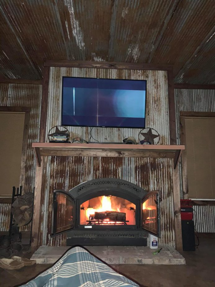 Corrugated metal fire place