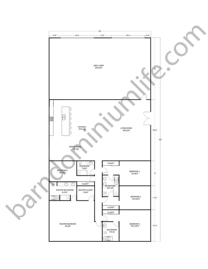 50x100 Barndominium Floor Plans with Shop and Master Suite for Large Families