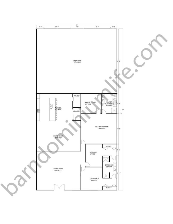 50x100 Barndominium Floor Plans with Shop for Medium Sized Families