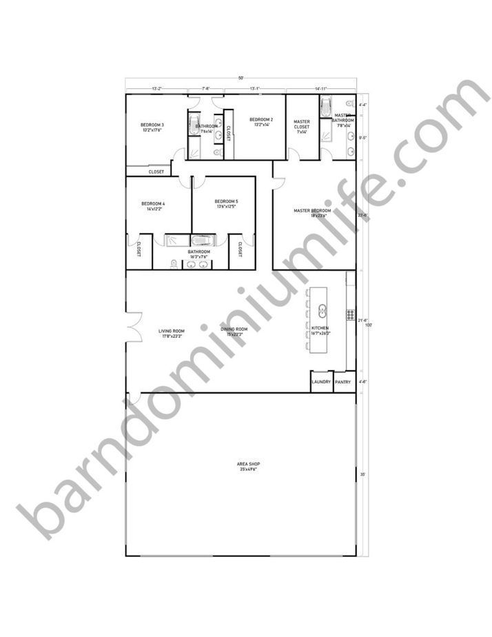 50x100 Barndominium Floor Plans with Shop for Large Families