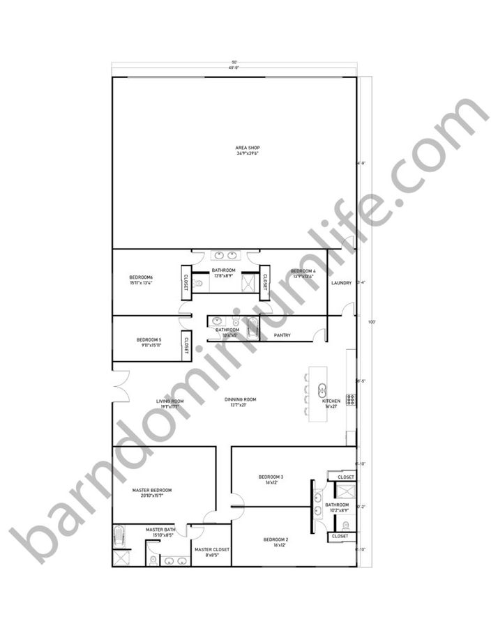 50x100 Barndominium Floor Plans with Shop for Extra Large Families
