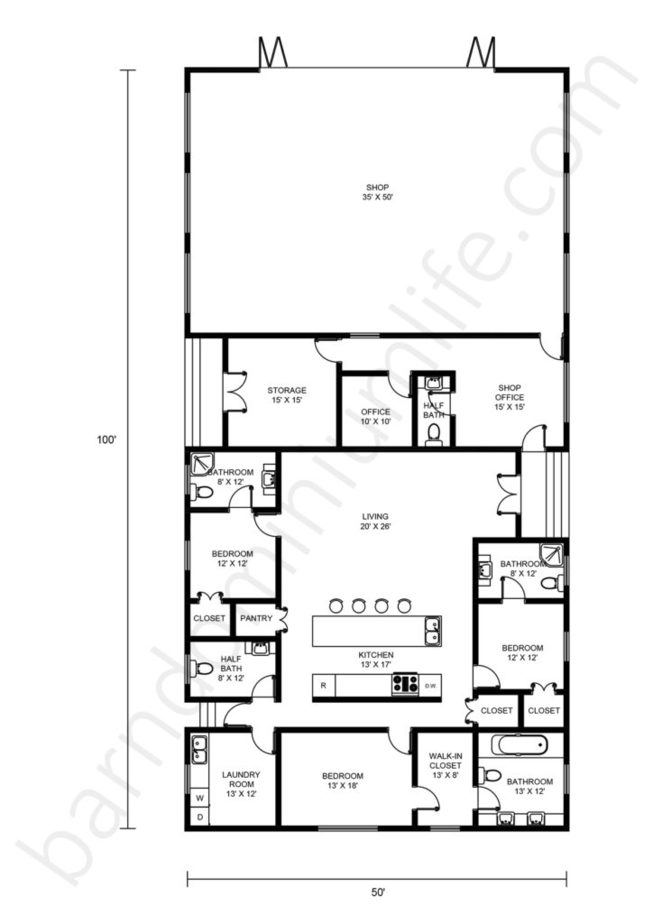 50x100 Barndominium Floor Plans with Shop, Open Concept, Office and Porch
