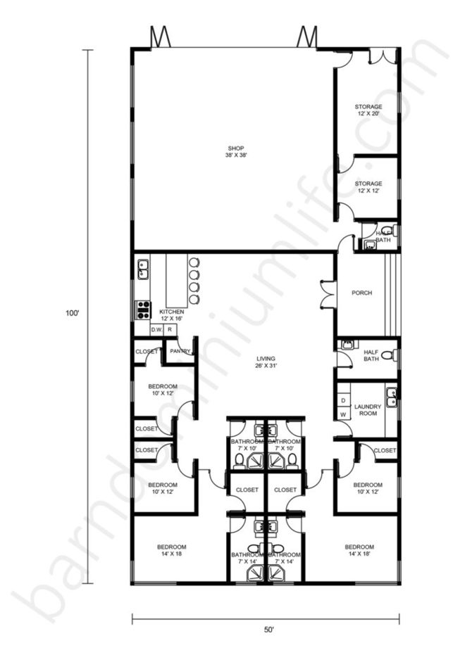 50x100 Barndominium Floor Plans with Shop and Open Concept for Large Families