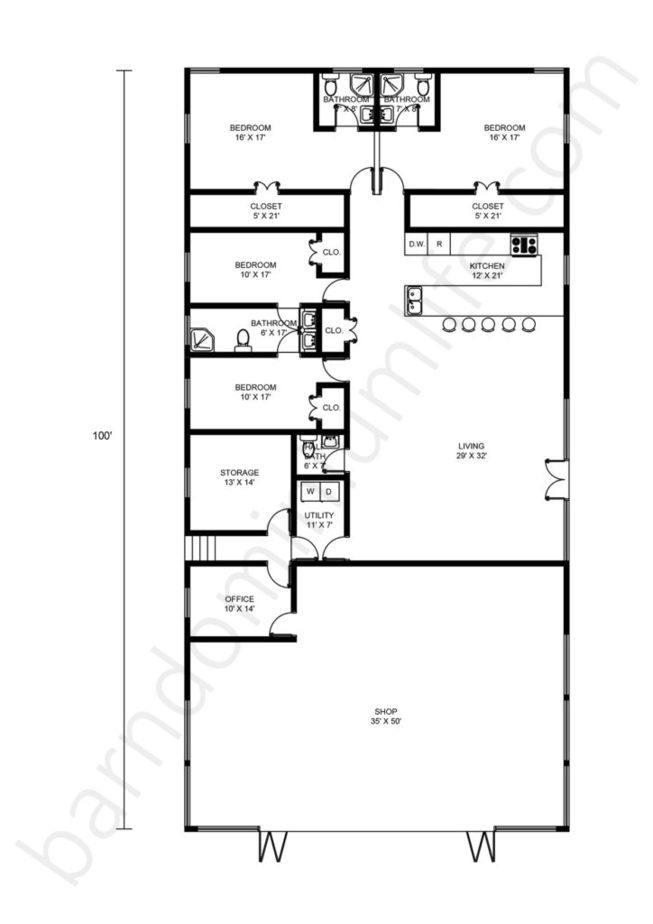 50x100 Barndominium Floor Plans with Shop, Office and Open Concept