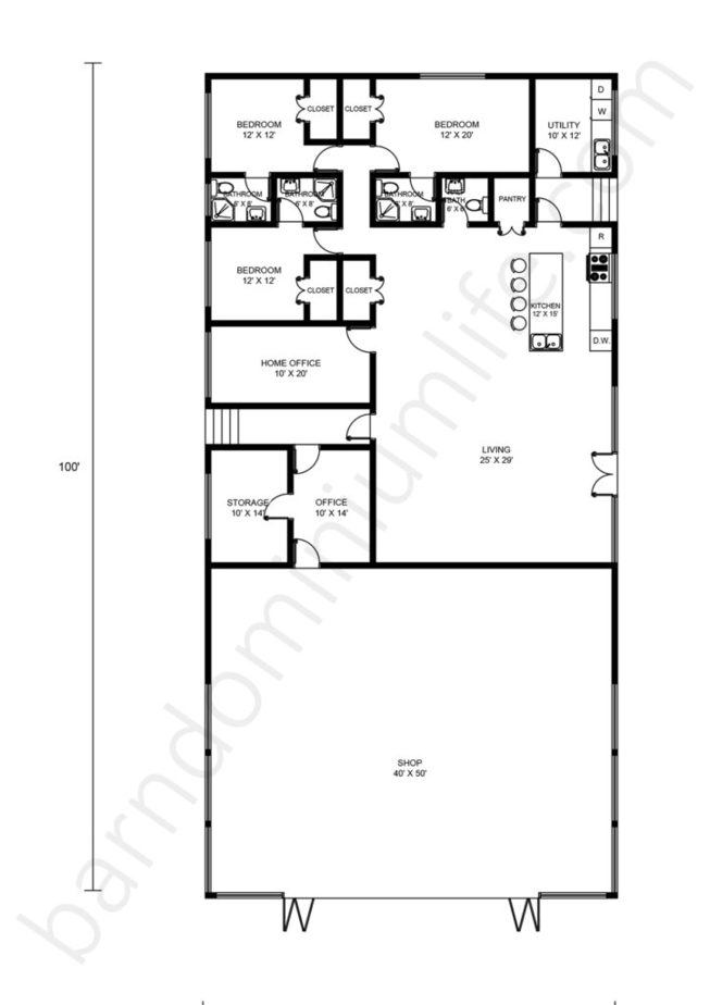 50x100 Barndominium Floor Plans with Shop, Open Concept and Home Office
