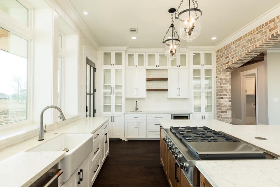 Houston Texas Barndominium Kitchen Sink, Cabinets and Stove
