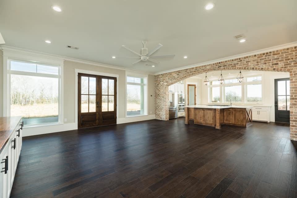Houston Texas Barndominium Open Concept Living Room, Dining Area and Kitchen