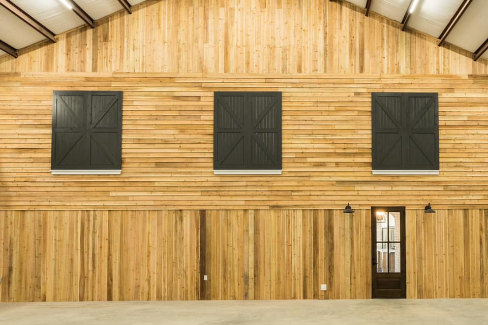 Houston Texas Barndominium Shop with Wooden Wall