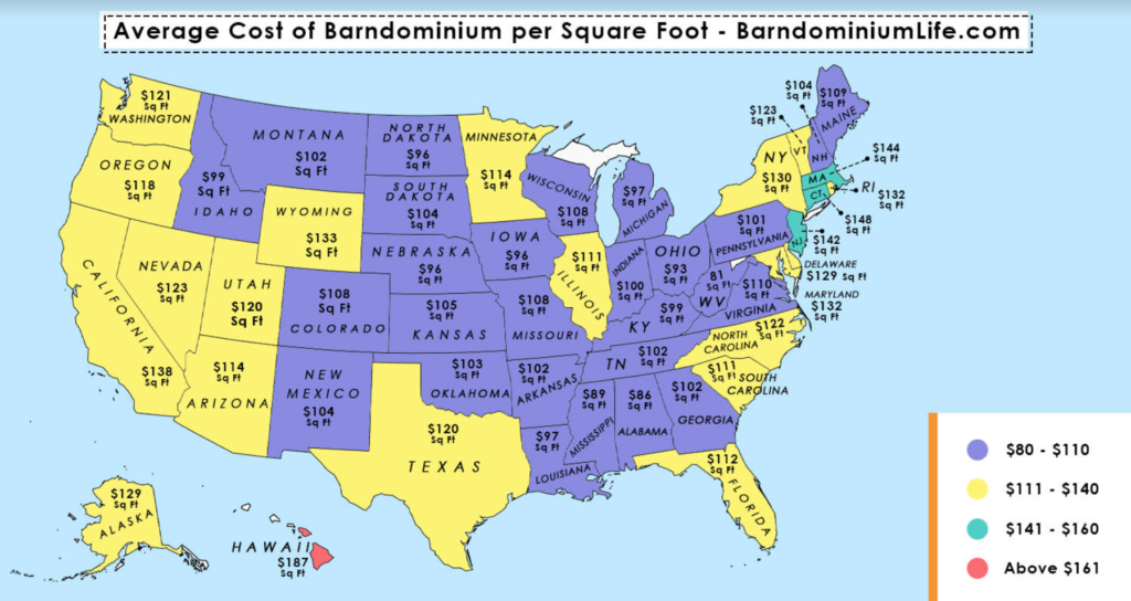 cheapest states to build a barndominium map