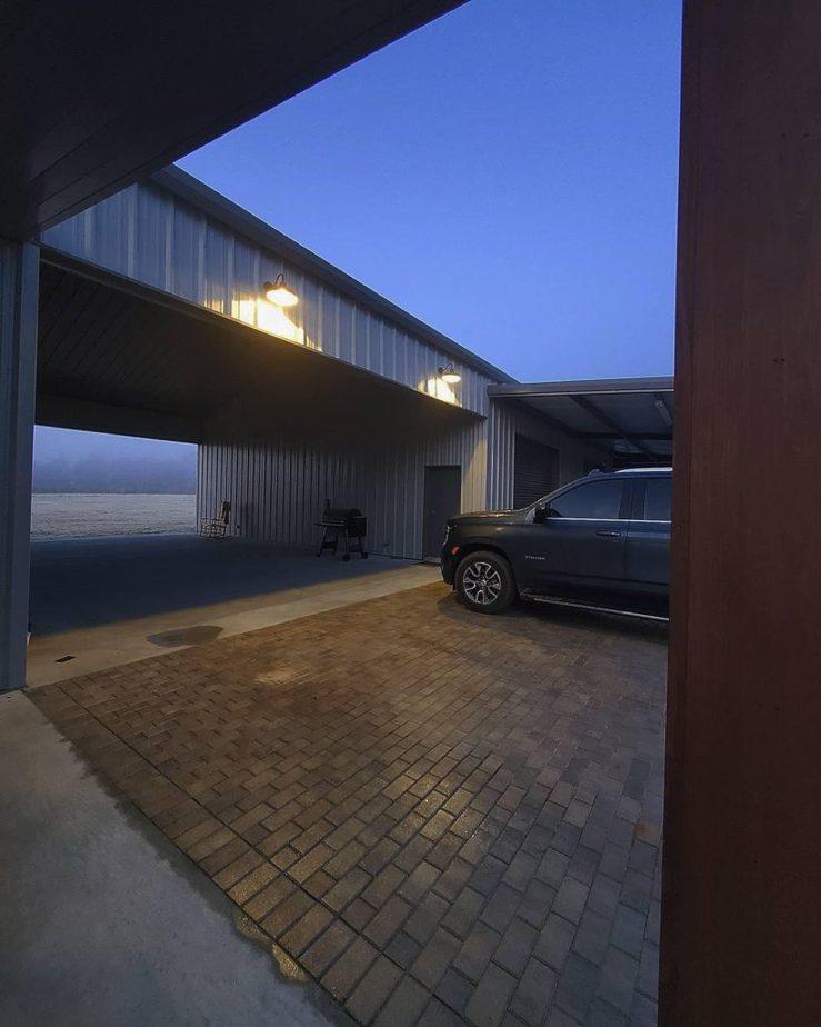 Melissa Hewitt Barndominium Driveway at Twilight