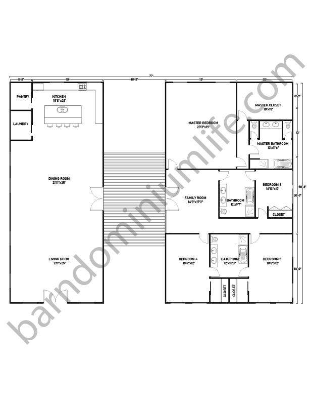 Barndominium Floor Plans with Breezeway, Master's, 3 Bedrooms and Family Room