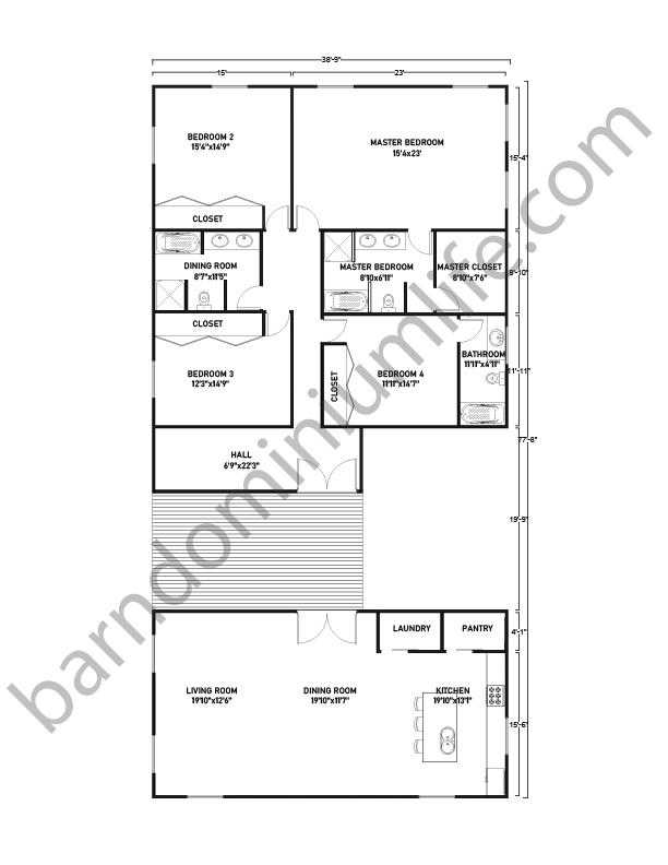 Barndominium Floor Plans with Breezeway, Master Suite, and 3 Bedrooms