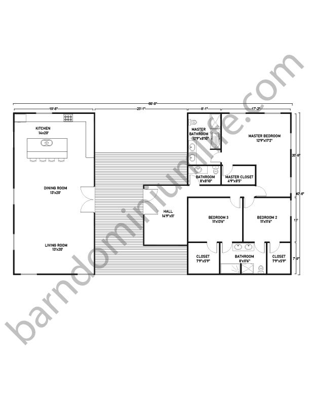 Barndominium Floor Plans with Breezeway, Master Suite, and 2 Bedrooms