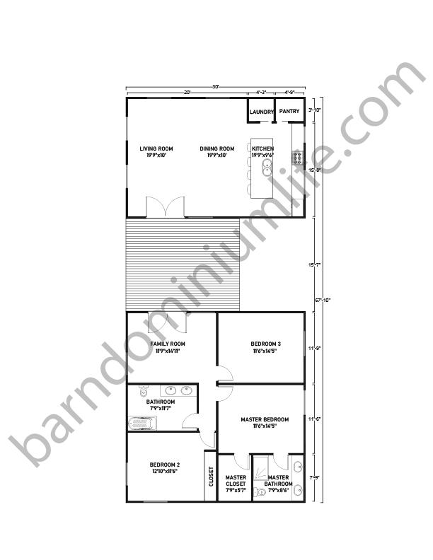 Barndominium Floor Plans with Breezeway, Master's, 2 Bedrooms and Family Room
