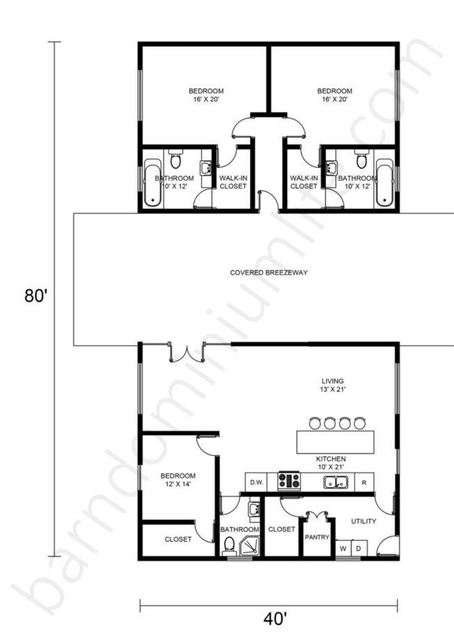 Barndominium Floor Plans with Breezeway, Open Concept, and 3 Bedrooms