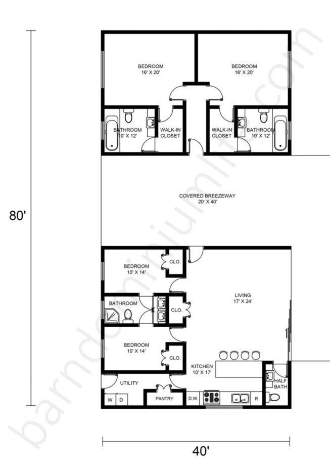Barndominium Floor Plans with Breezeway, Open Concept, and 4 Bedrooms