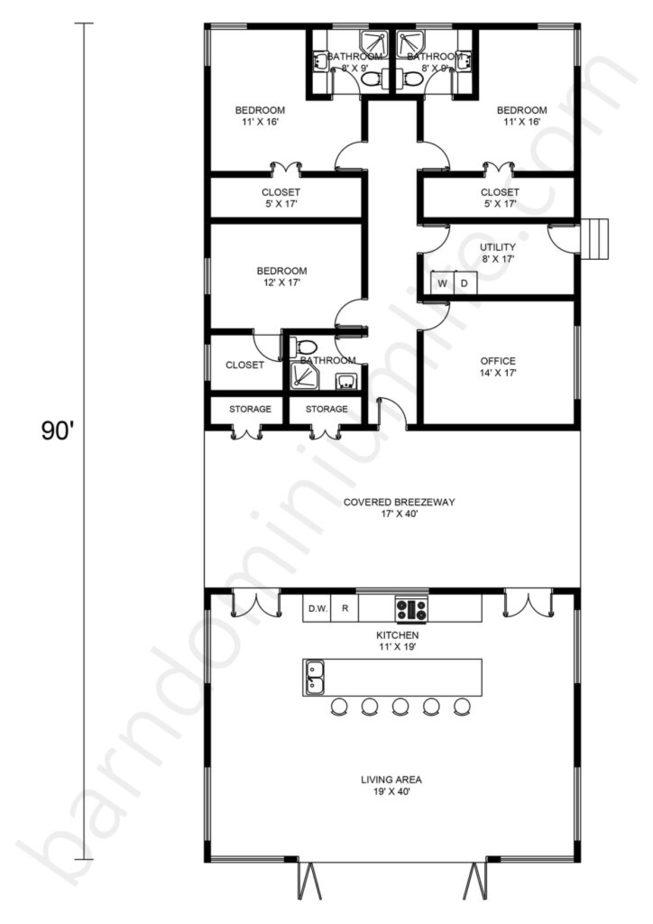 Barndominium Floor Plans with Breezeway, Open Concept, Office, and 3 Bedrooms