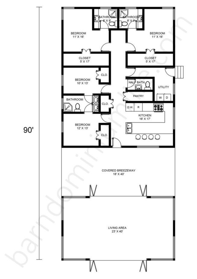 Barndominium Floor Plans with Breezeway, Standalone Open Concept, 4 Bedrooms