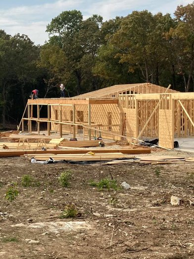 Progress picture during framing of the home.
