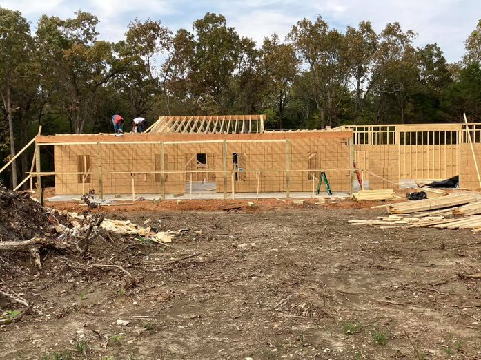 Progress picture of framing the home.