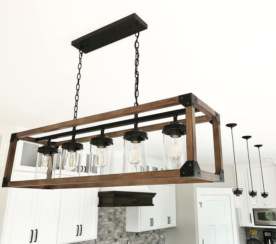 Beautiful kitchen lights with wood case