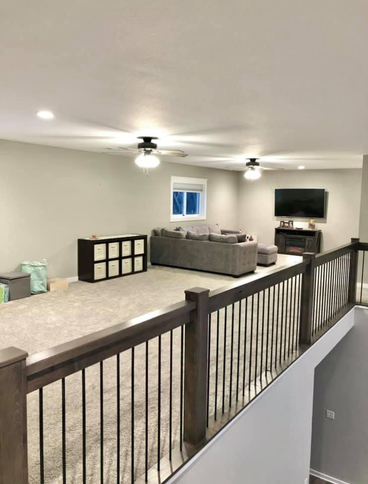 Loft space with entertainment area and children's play space