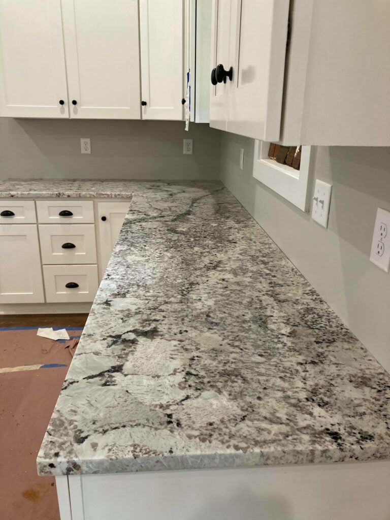 Close up of granite counter tops in the kitchen