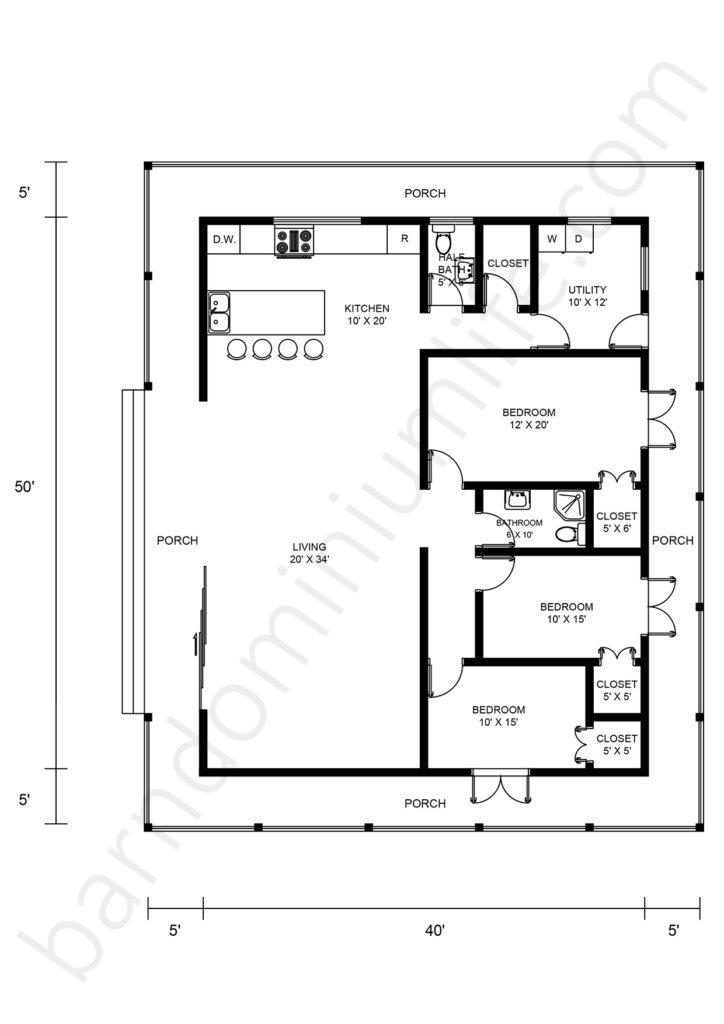 wraparound porch floor plan