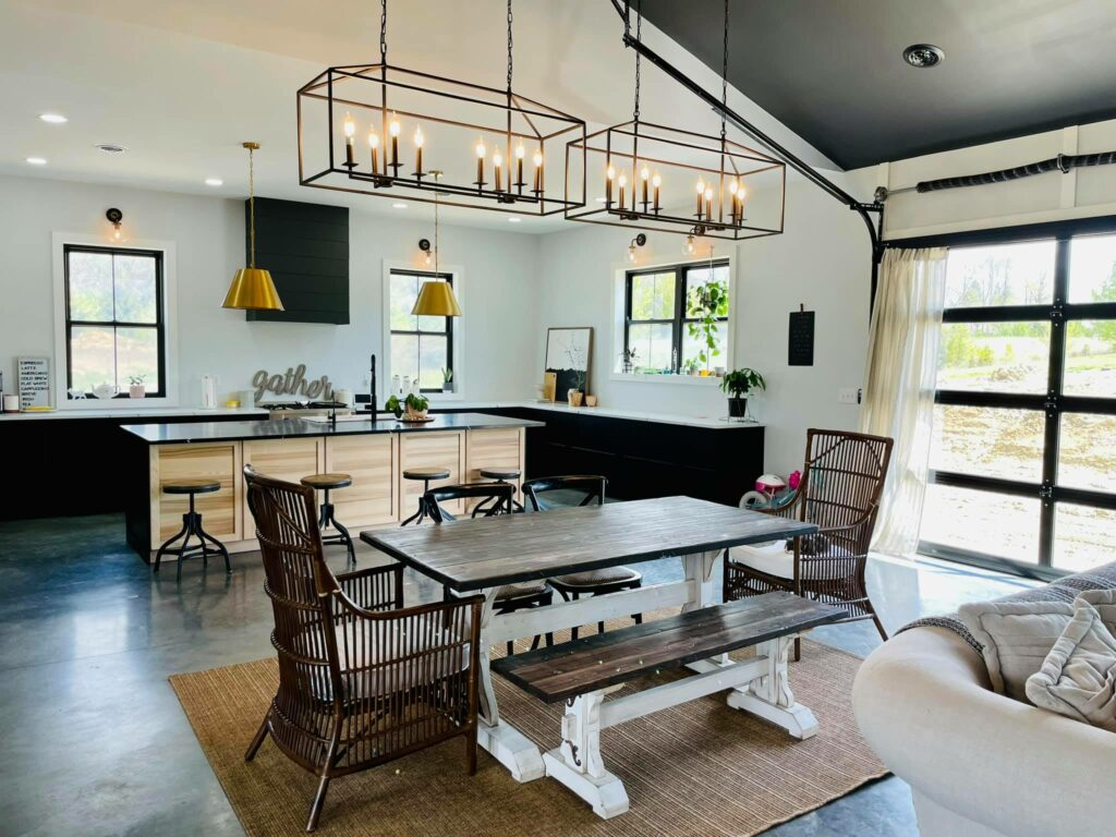Dining space in line with kitchen and living room.