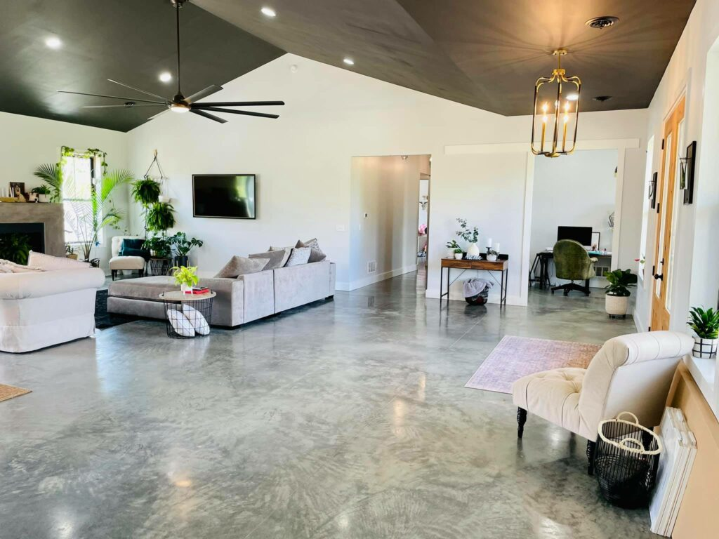Living space with sealed concrete floors