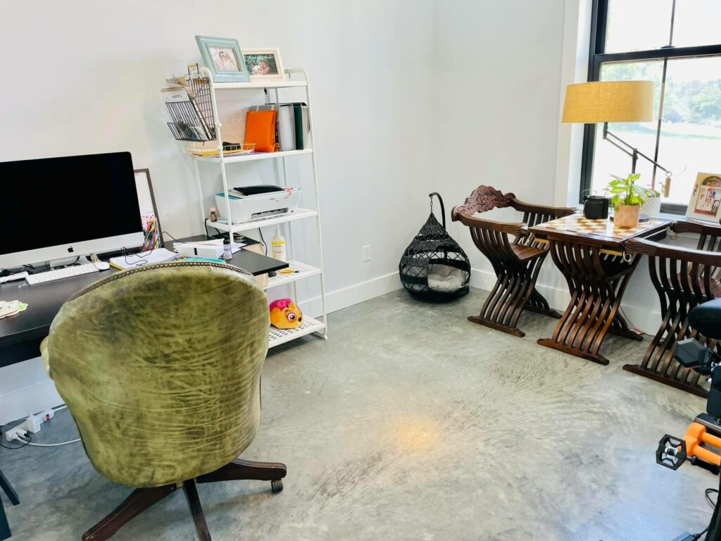 Office space with funky furniture choices.