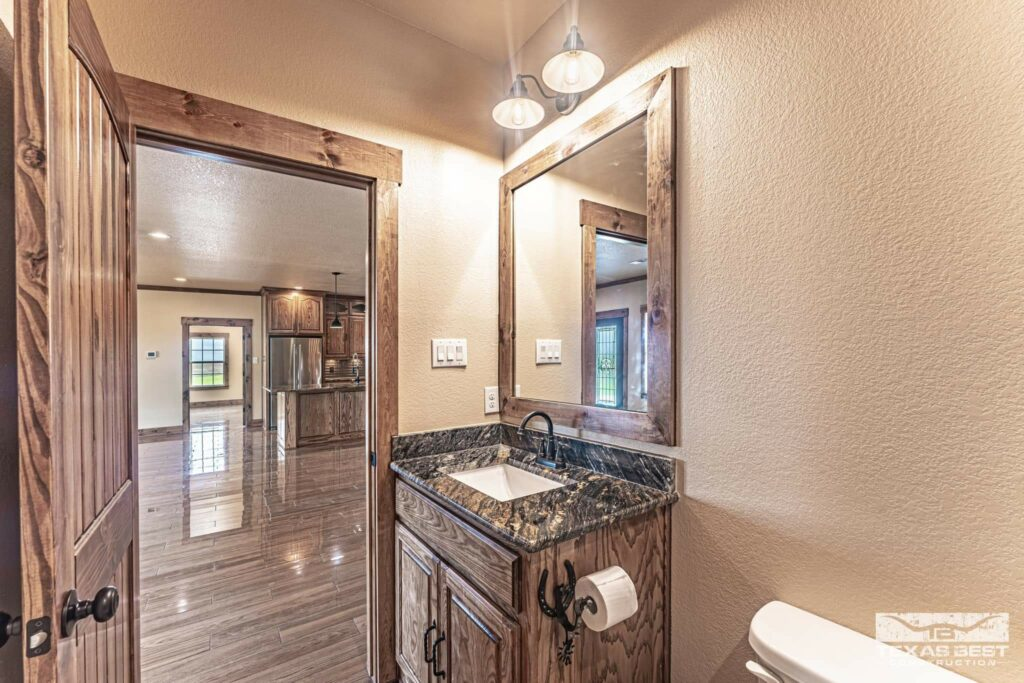 Guest bathroom with granite counter tops
