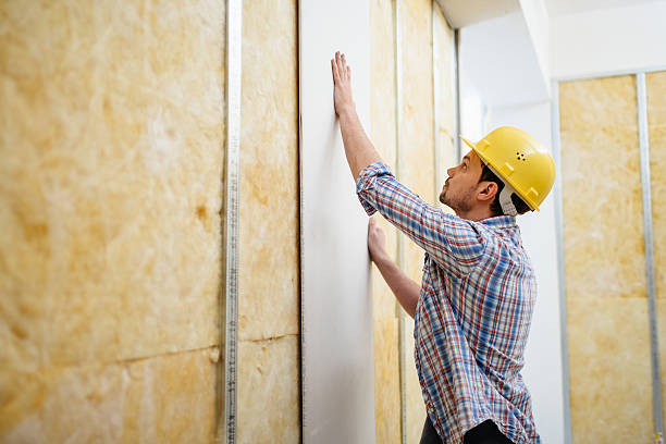 construction worker putting up drywall