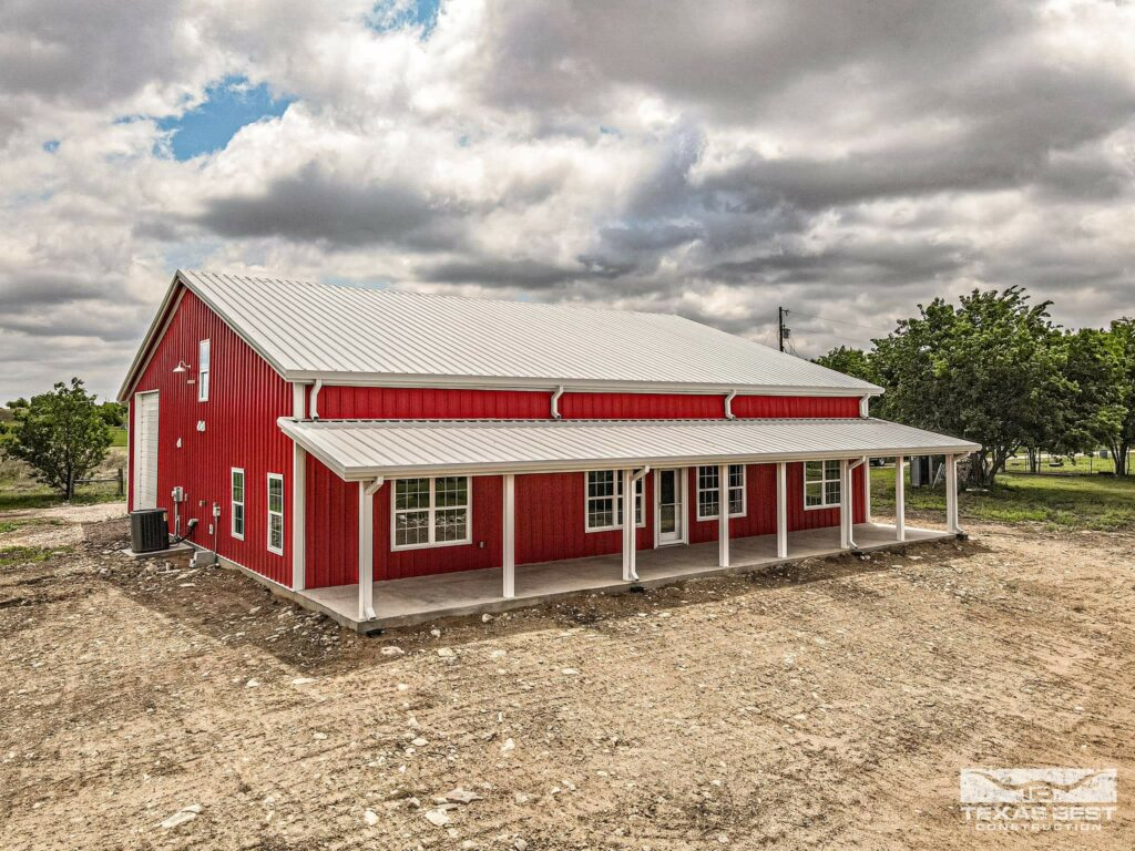 Barn-red exterior of this Texas home