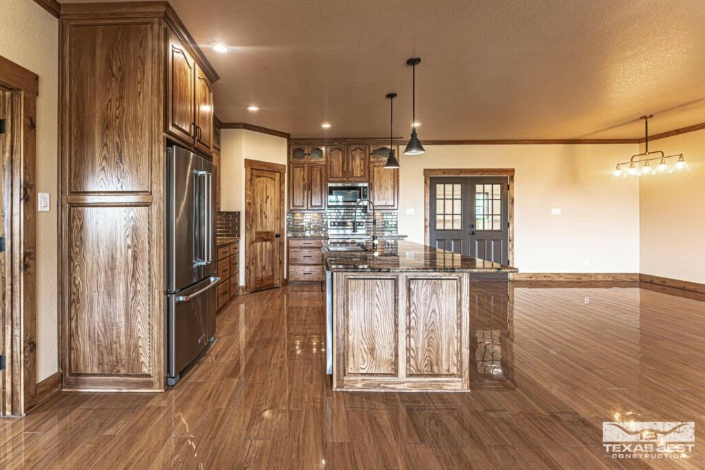 Open concept kitchen/living space