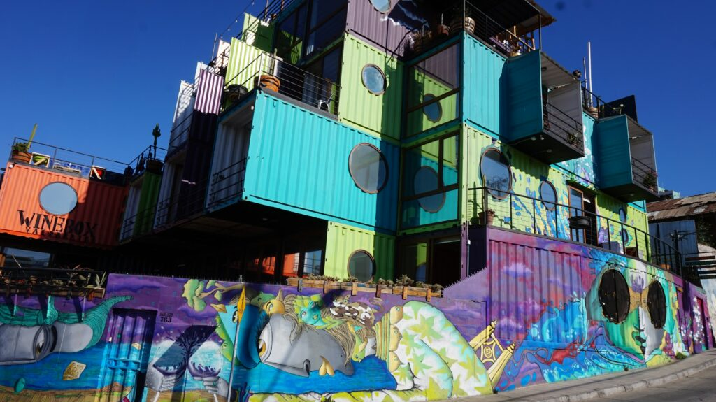 Stacked shipping containers converted to colorful home